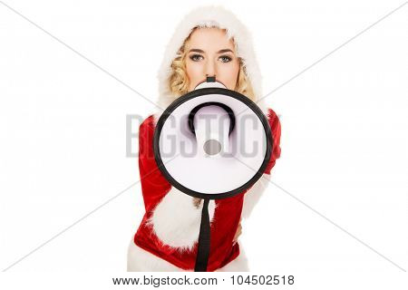 Santa woman screaming by megaphone.