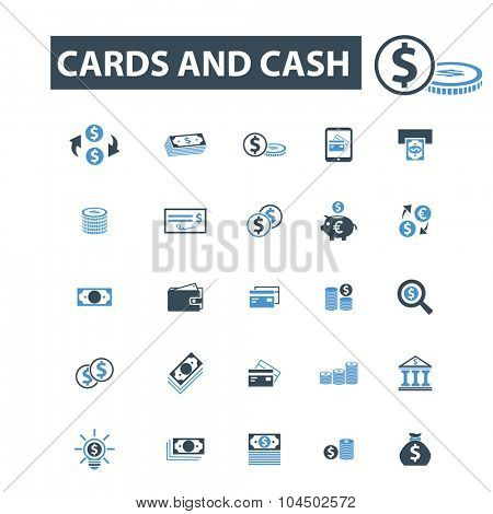 money, cash, cards icons