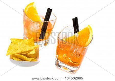 Top Of View Of Two Glasses Of Spritz Aperitif Aperol Cocktail With Orange Slices And Ice Cubes