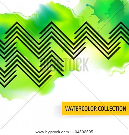 Seamless vector pattern background with watercolor splash. Abstract stripped geometric texture