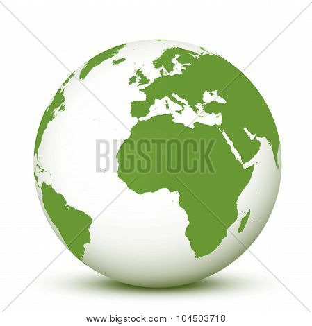 Green And White World Globe Earth 3D