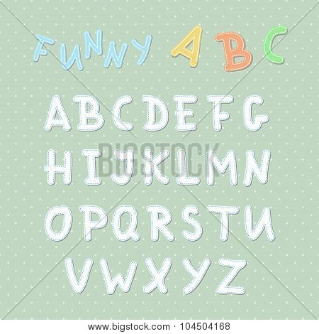 Vector Funny Uppercase Stitched English Alphabet