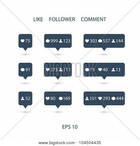 Like, follower, comment icons on white background.