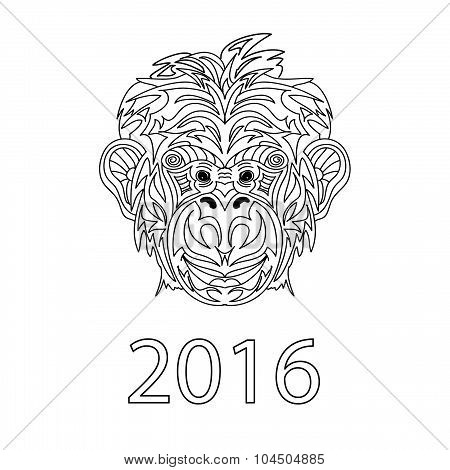 Fair Monkey 2016 year symbol coloring page