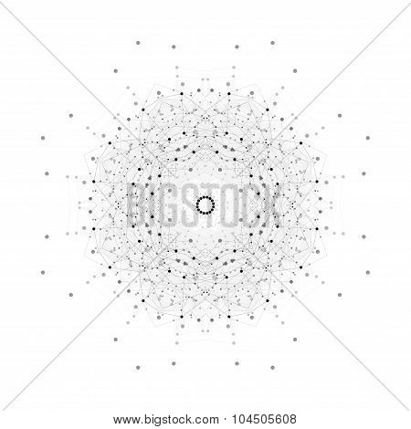 Round vector shape, molecular construction with connected lines and dots, scientific or digital desi