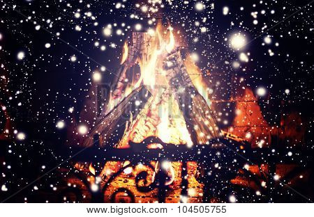 Christmas Fireplace - Christmas Composition With Falling Snow And Christmas Decoration. Winter And C