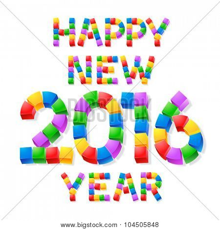 Happy new year greeting card with colorful 3D cube font