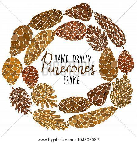 Pinecones hand drawn frame