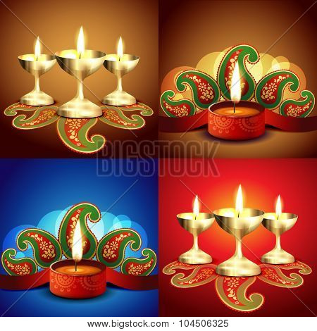 vector set of Hindu festival of diwali background illustration
