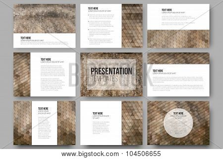 Set of 9 templates for presentation slides. Dry straw texture. Abstract multicolored backgrounds. Ge