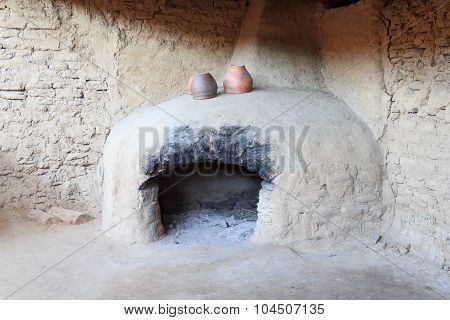 The Furnace Of A Bronze Century With The Ceramic Pots Standing On It