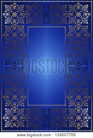 Gilded openwork frame on blue satin gradient background