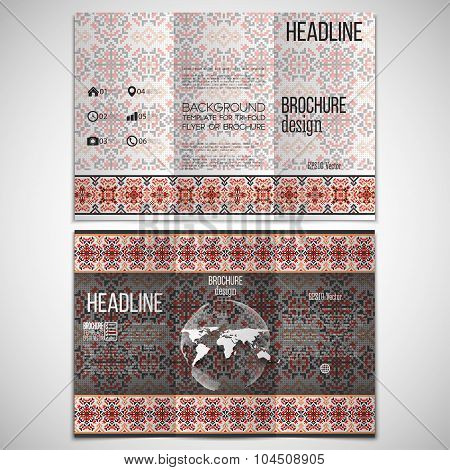Vector set of tri-fold brochure design template on both sides with world globe element. Ukrainian fo