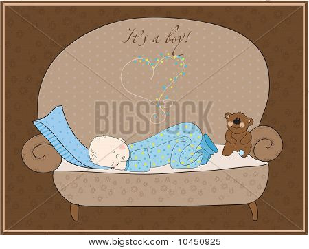 Newborn Baby Boy Sleeping Card