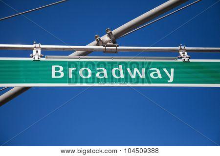 NEW YORK CITY, USA - SEPTEMBER, 2014: Broadway street sign in New York City