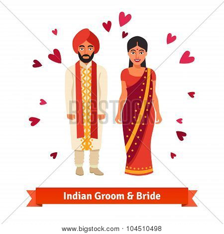 Indian wedding, bride, groom in national costumes