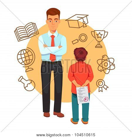 Parenting and education concept with icons