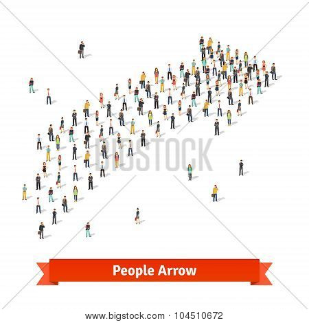 People standing together in shape of an arrow