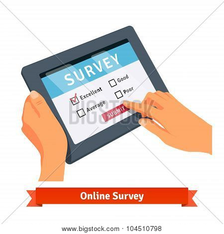 Online survey on a tablet