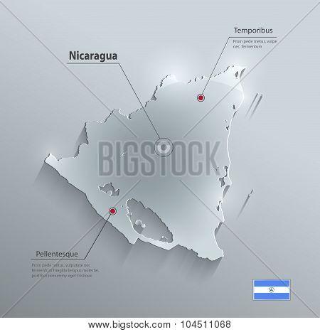 Nicaragua map glass card paper 3D vector