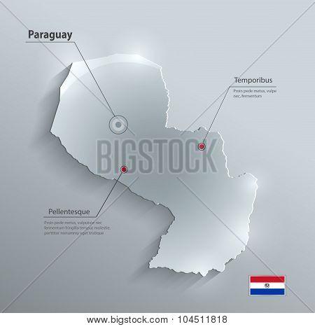 Paraguay map glass card paper 3D vector
