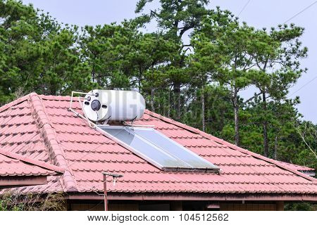 Solar Cell On Roof For Energy In Forest.