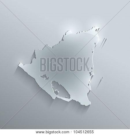 Nicaragua map glass card paper 3D raster