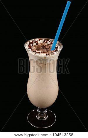Milkshake With Chocolate On A Black Background