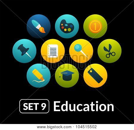 Flat icons vector set 9 - education collection