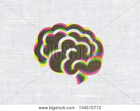 Medicine concept: Brain on fabric texture background