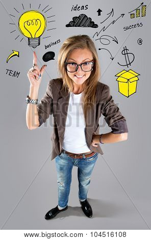 Business Woman Pointing Showing And Looking To The Side Up At Empty Copyspace. Multi Ethnic Business
