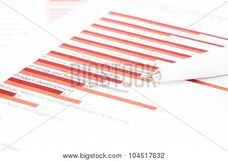 Business Chart With A Ball Pen