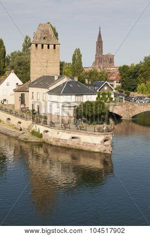 Covered Bridge, In The Petite France, Strasbourg, Bas-rhin, Alsace, France.