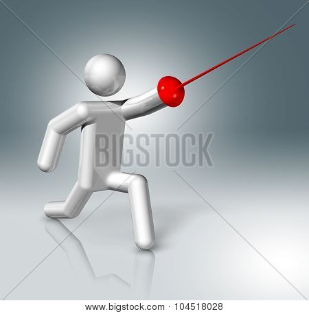Fencing 3D Symbol, Olympic Sports
