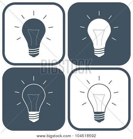 Set Bulbs Icons Gray Color On The White Background. Stock Vector Illustration Eps10