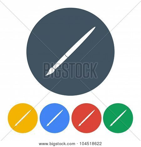 Set Brush Icons On A White Background. Stock Vector Illustration Eps10