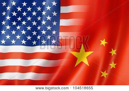 Usa And China Flag