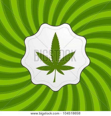 Green retro cannabis design element. Vector icon background