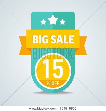 Big sale of 15 percent of the label with a red ribbon. Vector illustration.