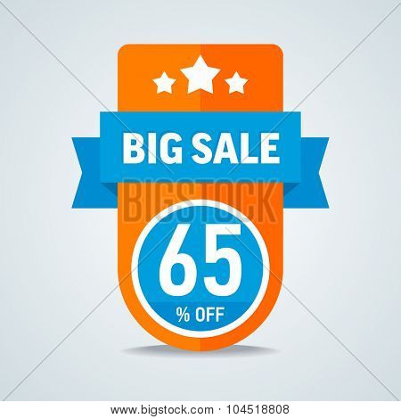 Big sale of 65 percent of the label with a blue ribbon. Vector illustration.