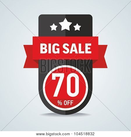 Big sale of 70 percent of the label with a red ribbon. Vector illustration.