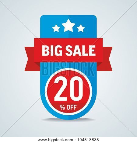 Big sale of 20 percent of the label with a red ribbon. Vector illustration.