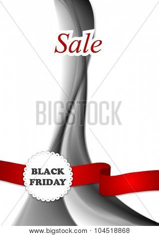 Black friday background with wave and ribbon. Vector sale design