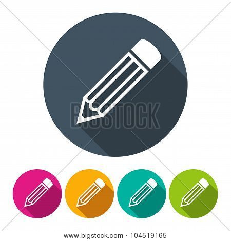 Set Pencils Icons In The Style Flat Design On The White Background. Stock Vector Illustration Eps10