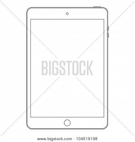 Tablet Outline Icon Symbol On The White Background. Stock Vector Illustration Eps10