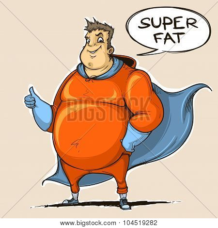 Fat man super hero. Colored. Sketch style