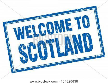 Scotland Blue Square Grunge Welcome Isolated Stamp