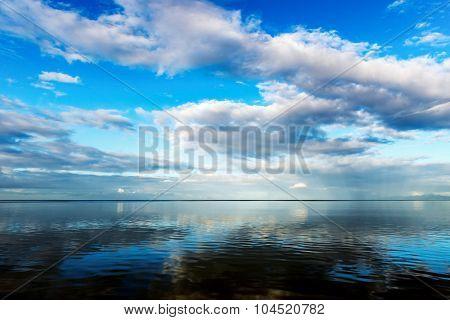 Seascape blue sky calm sea at dawn Trinidad and Tobago