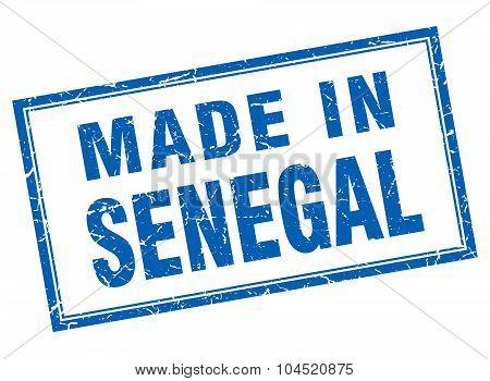 Senegal Blue Square Grunge Made In Stamp