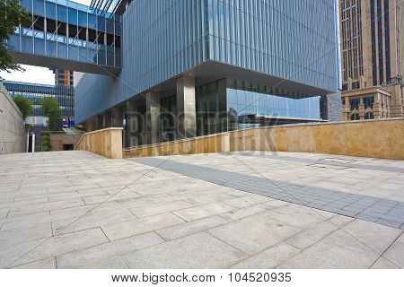 Empty Road Surface With Modern Office Buildings Background